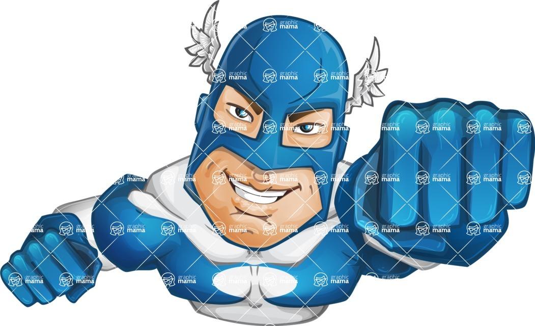 Man in Superhero Costume Cartoon Vector Character AKA Sergeant Eagle - Flying