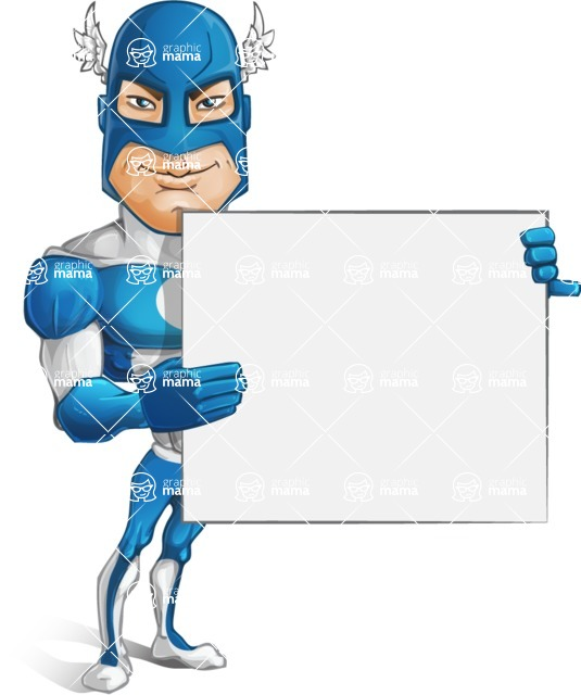Man in Superhero Costume Cartoon Vector Character AKA Sergeant Eagle - Presentation3