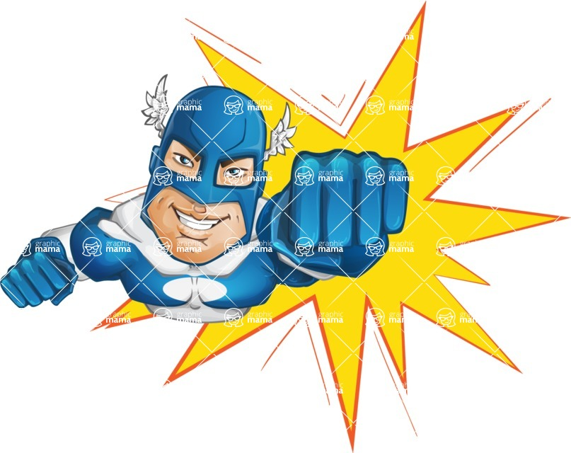 Man in Superhero Costume Cartoon Vector Character AKA Sergeant Eagle - Shape1