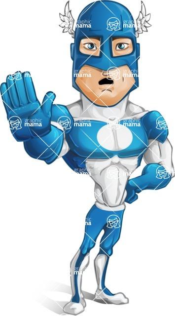 Man in Superhero Costume Cartoon Vector Character AKA Sergeant Eagle - Goodbye