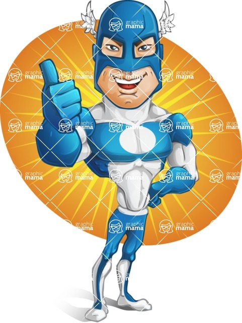 Man in Superhero Costume Cartoon Vector Character AKA Sergeant Eagle - Shape7