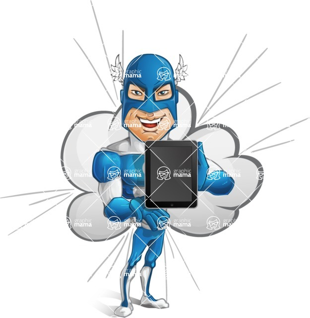 Man in Superhero Costume Cartoon Vector Character AKA Sergeant Eagle - Shape10