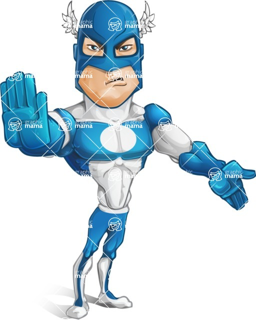 Man in Superhero Costume Cartoon Vector Character AKA Sergeant Eagle - Direct Attention