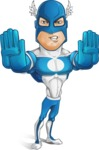 Man in Superhero Costume Cartoon Vector Character AKA Sergeant Eagle - Stop