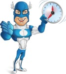 Man in Superhero Costume Cartoon Vector Character AKA Sergeant Eagle - Time is yours