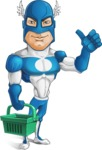 Man in Superhero Costume Cartoon Vector Character AKA Sergeant Eagle - Shopping