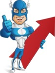 Man in Superhero Costume Cartoon Vector Character AKA Sergeant Eagle - Arrow