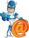 Man in Superhero Costume Cartoon Vector Character AKA Sergeant Eagle - Email