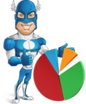 Man in Superhero Costume Cartoon Vector Character AKA Sergeant Eagle - Chart
