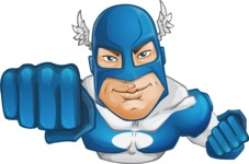 Man in Superhero Costume Cartoon Vector Character AKA Sergeant Eagle - Flying2