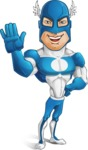 Man in Superhero Costume Cartoon Vector Character AKA Sergeant Eagle - Hello
