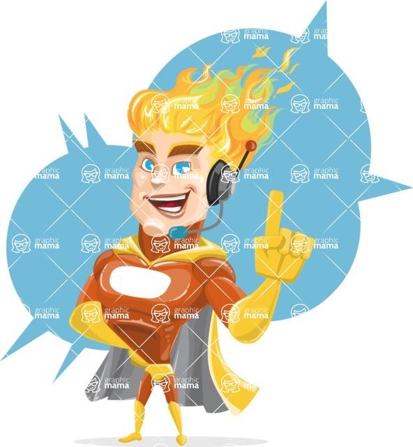 Fire Superhero Cartoon Vector Character AKA Jason Meteoro - Shape5