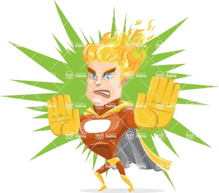 Fire Superhero Cartoon Vector Character AKA Jason Meteoro - Shape9