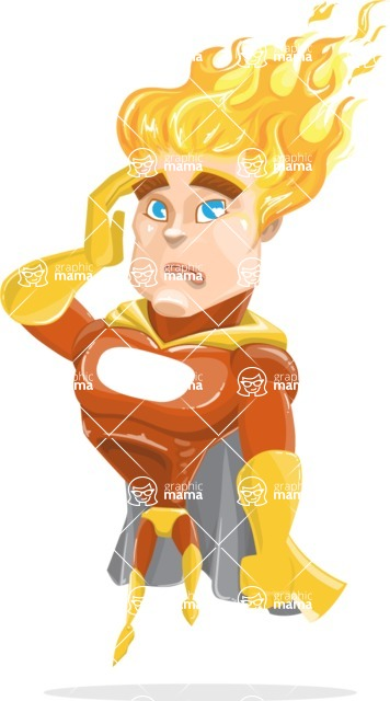 Fire Superhero Cartoon Vector Character AKA Jason Meteoro - Confused