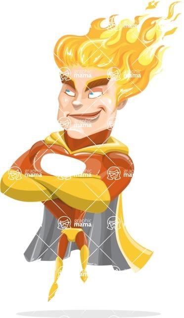 Fire Superhero Cartoon Vector Character AKA Jason Meteoro - Patient