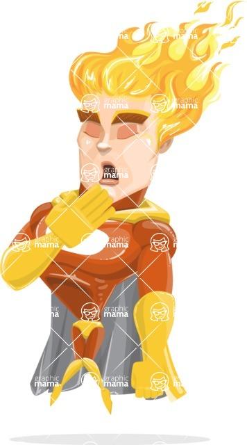 Fire Superhero Cartoon Vector Character AKA Jason Meteoro - Bored
