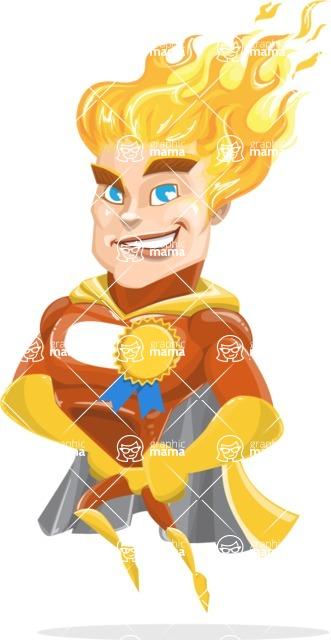 Fire Superhero Cartoon Vector Character AKA Jason Meteoro - Ribbon