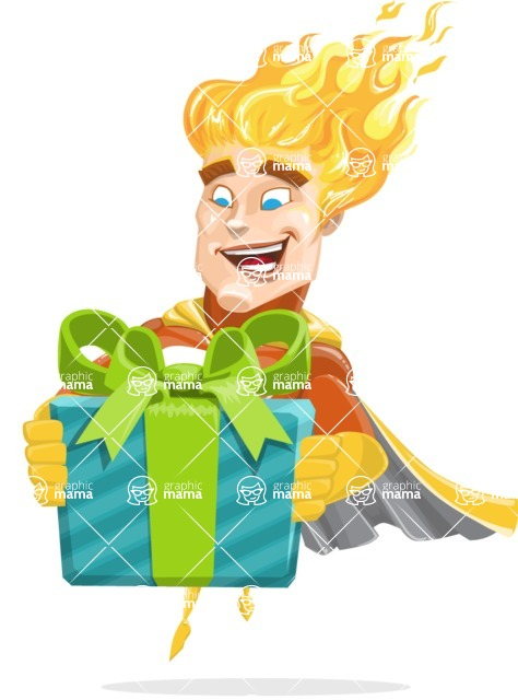 Fire Superhero Cartoon Vector Character AKA Jason Meteoro - Gift