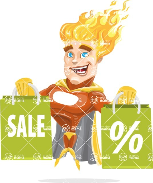 Fire Superhero Cartoon Vector Character AKA Jason Meteoro - Sale2