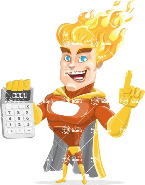 Fire Superhero Cartoon Vector Character AKA Jason Meteoro - Calculator