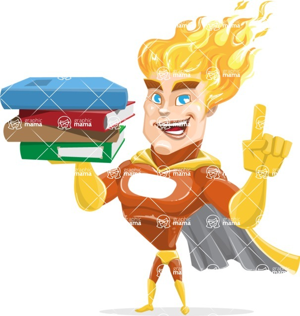 Fire Superhero Cartoon Vector Character AKA Jason Meteoro - Book2