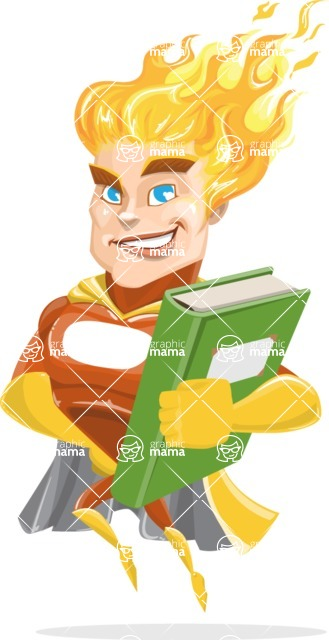 Fire Superhero Cartoon Vector Character AKA Jason Meteoro - Book3
