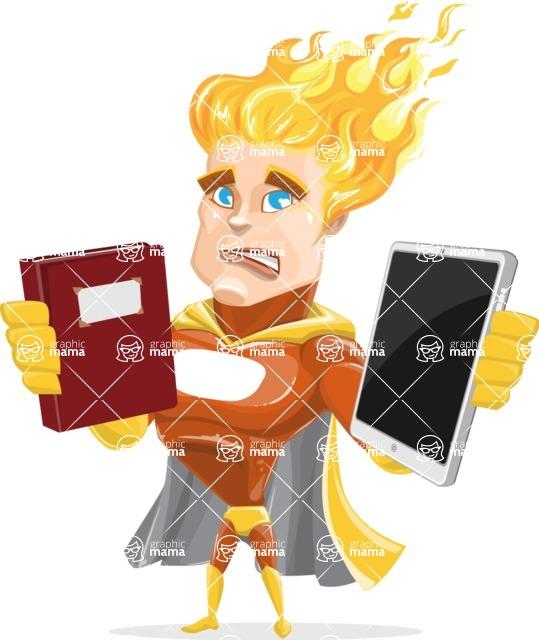 Fire Superhero Cartoon Vector Character AKA Jason Meteoro - Book and iPad