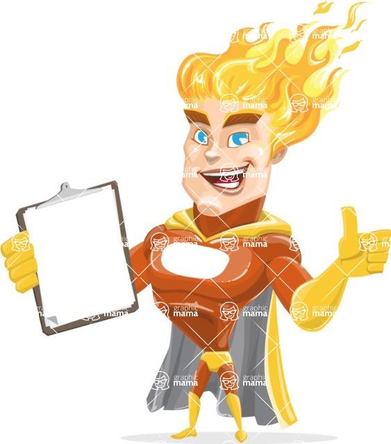 Fire Superhero Cartoon Vector Character AKA Jason Meteoro - Notepad
