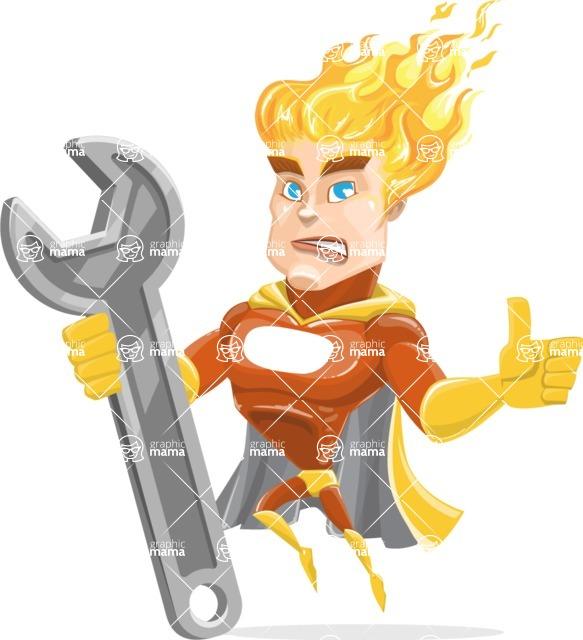 Fire Superhero Cartoon Vector Character AKA Jason Meteoro - Repair