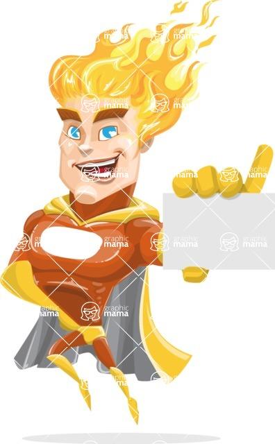 Fire Superhero Cartoon Vector Character AKA Jason Meteoro - Sign1