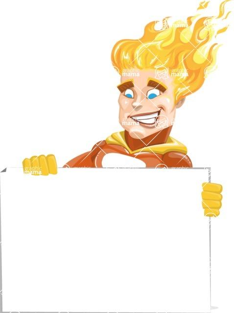 Fire Superhero Cartoon Vector Character AKA Jason Meteoro - Sign6