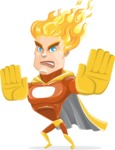 Fire Superhero Cartoon Vector Character AKA Jason Meteoro - Stop