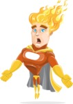 Fire Superhero Cartoon Vector Character AKA Jason Meteoro - Stunned