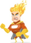Fire Superhero Cartoon Vector Character AKA Jason Meteoro - Angry