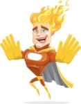 Fire Superhero Cartoon Vector Character AKA Jason Meteoro - Hello