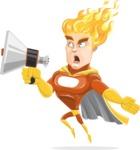 Fire Superhero Cartoon Vector Character AKA Jason Meteoro - Loudspeaker