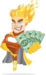 Fire Superhero Cartoon Vector Character AKA Jason Meteoro - Show me the money