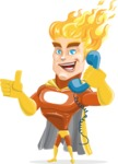 Fire Superhero Cartoon Vector Character AKA Jason Meteoro - Support