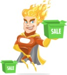 Fire Superhero Cartoon Vector Character AKA Jason Meteoro - Sale