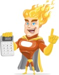 Fire Superhero Cartoon Vector Character AKA Jason Meteoro - Calculator
