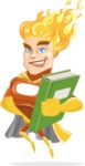 Fire Superhero Cartoon Vector Character AKA Jason Meteoro - Book3
