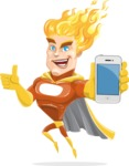 Fire Superhero Cartoon Vector Character AKA Jason Meteoro - iPhone