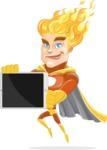 Fire Superhero Cartoon Vector Character AKA Jason Meteoro - iPad2