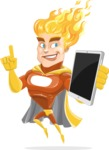 Fire Superhero Cartoon Vector Character AKA Jason Meteoro - iPad3