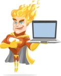 Fire Superhero Cartoon Vector Character AKA Jason Meteoro - Laptop3