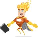 Fire Superhero Cartoon Vector Character AKA Jason Meteoro - Briefcase