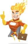Fire Superhero Cartoon Vector Character AKA Jason Meteoro - Briefcase2