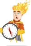 Fire Superhero Cartoon Vector Character AKA Jason Meteoro - Time is yours