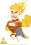 Fire Superhero Cartoon Vector Character AKA Jason Meteoro - Under Construction