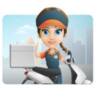 Female Delivery Service Worker Cartoon Vector Character AKA Lizzy - Shape 1